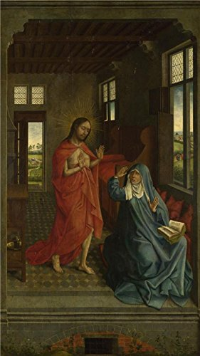 Oil painting ` FollowerのRogier van der weyden-christ appearing to the Virgin Perfect Effectキャンバスに、15世紀後期`印刷、30x 53インチ/ 76x 135cm、最高のホームオフィスアートワークとホームギャラリーアートとギフトはこの複製品アート装飾プリントキャンバスの商品画像