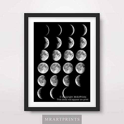 White Photo Wall Calendar - MOON PHASES CALENDAR CHART BLACK WHITE ART PRINT Poster Home Decor Outer Space Lunar Diagram Illustration Wall Picture A4 A3 A2 (10 Size Options)