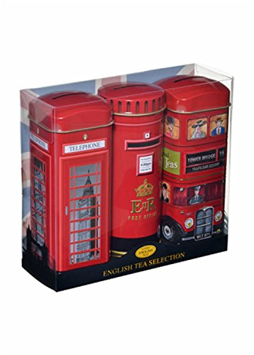 Heritage Range English Tea Selection - Finest English Teas in English Icons, 3 x 14 Teabags in Money Box Tins (Best Tea In London)