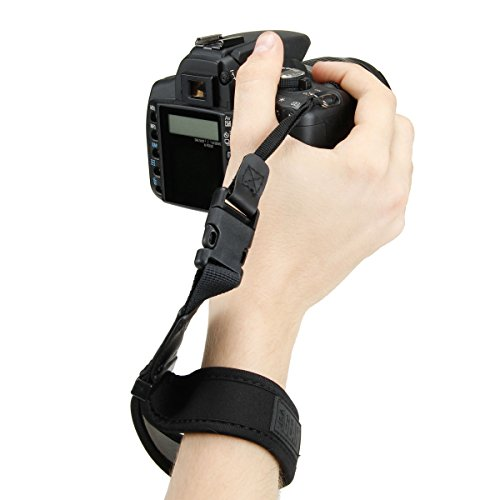 USA Gear Camera Wrist Strap with Black Padded Neoprene Design, Comfortable Support and Quick Release Buckles - Compatible with Canon, Fujifilm, Nikon, Sony and More DSLR, Mirrorless, Cameras
