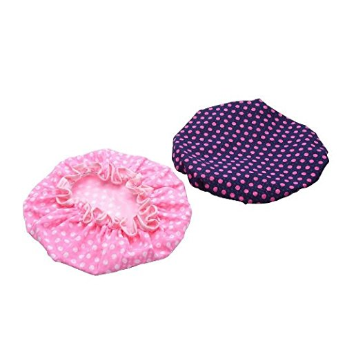 Women Waterproof Shower Cap Double Layer Bath Cap Elastic Band Spa Shower Hat Mudder