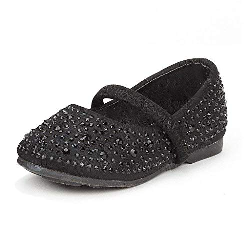 DREAM PAIRS MUY-Shine-INF Mary Jane Girls Rhinestone Studded Slip On Ballet Flats Toddler New Black Size 7 ()