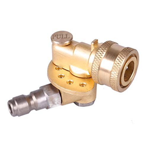 (Honor & Joy Pivoting Coupler with 120 Degree and 5 Angle, for Pressure Washer Spray Nozzle . Safety Gear for extremely high reliability , Clean Hard to Reach Area Max 5000 PSI 1/4 Inch Quick Connect)