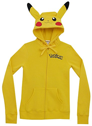 [Meilaier Pikachu Ears Face Tail Juniors Zip Up Costume Hoodie Hooded Sweatshirt] (Pikachu Costumes Women)