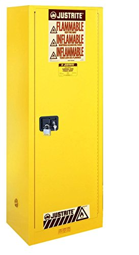 Justrite 892200 Sure-Grip EX 22 Gallon, 65'' H x 23-1/4'' W x 18'' D, 1 Door, 3 Shelf, Manual-Close Yellow Slimline Flammable Storage Cabinet by Justrite