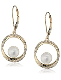 14k Yellow Gold Freshwater Cultured Pearl and Diamond Circle Dangle Earrings (1/10cttw, I-J Color, I2-I3 Clarity)