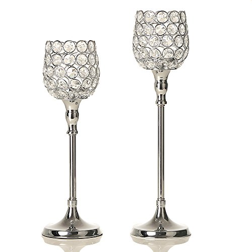 VINCIGANT Silver Crystal Candlesticks Holders Sets for Holiday Mantle Decor Wedding Table Centerpieces Candelabra,12.6 &14.6 Inches Tall,Gift for - Decoration Christmas Kissing Ball Holiday