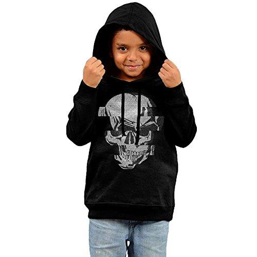 Glitch Skull Art Unisex Little Boys' Girls' Long-sleeve Cotton Pullover Maverick Kids Hoodies - Del Costa Ma