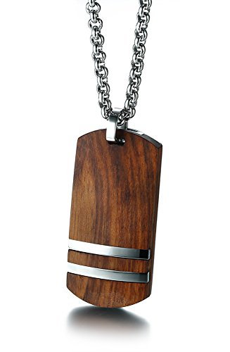MPRAINBOW MP Men's Handmade Stainless Steel Koa Wood Dog Tag Pendant Necklace High Polish,Free Rolo Chain
