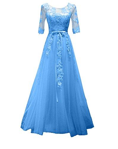 Langarm Spitze Dunkel Partykleider Abendkleider Damenmode Langes Blau Promkleider rrdqAwf