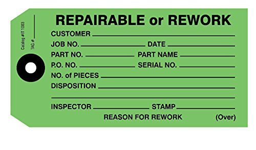 Repairable or Rework Tag 4-3/4'' x 2-3/8'' Pack of 1000 by Ryan