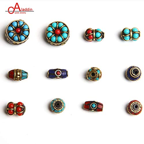 - Pukido Aladdin Nepal Metal Copper Cloisonne Beads Vintage Handmade Inlay DIY Bracelet Necklace Jewelry Accessories 649-660 - (Item Diameter: MM0650)