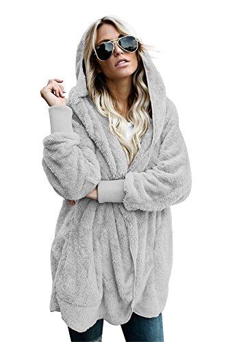 BaronHong Women's s Plus Size Designer chaqueta de abrigo casual con capucha gris