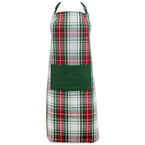 (DII Cotton Chistmas Kitchen Apron with Pocket and Extra Long Ties, 32 x 28, Men and Women Chef Apron for Holidays, Hostee and Housewarming Gift-Christmas Plaid)