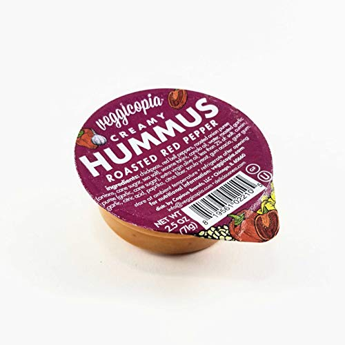 Veggicopia Creamy Roasted Red Pepper Hummus - satisfying taste of roasted red peppers - All natural, gluten free, dairy-free, vegan - No refrigeration required - 2.5 oz dip cups (Pack of 12)