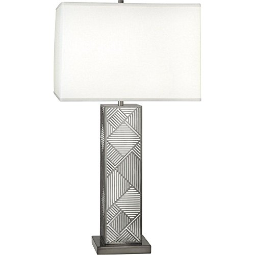 Robert Abbey 2272 Lloyd - One Light Table Lamp, Blackened Nickel/White Lacquered Finish with Square Oyster Linen Shade