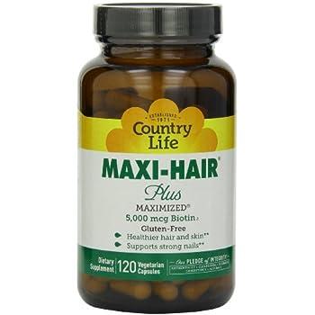 Country Life Maxi Hair Plus 5,000 mcg Biotin 120 VegiCaps