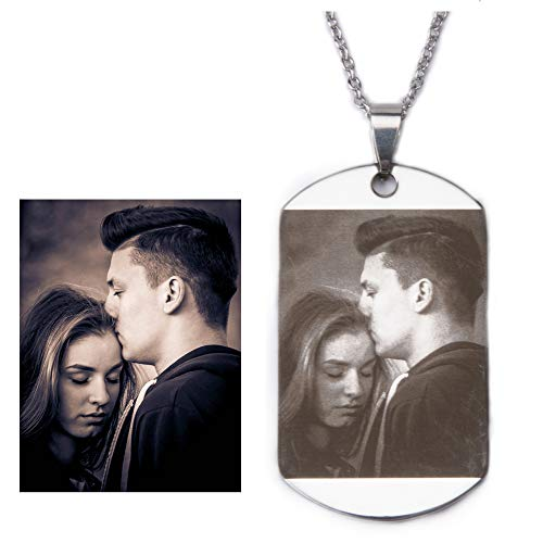 Fanery Sue Personalized Photo Necklace Stainless Steel Military Dog Tag Custom Text Engrave ID Necklace(Silver) ()