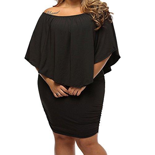 Eiffel Women's Elastic Off Shoulder Ruffled Sleeve Multi Layer Dress Bodycon (XX-Large, Black)