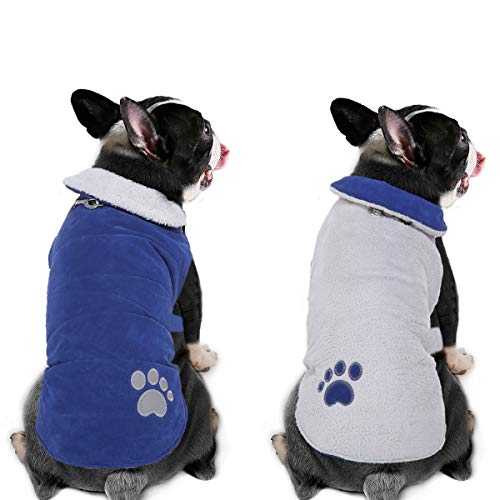 BWOGUE Warm Reversible Dog Winter Coat Thick Fleece Dog Cold Weather Jacket Windproof Pet Apparel Dog Vest for Small…