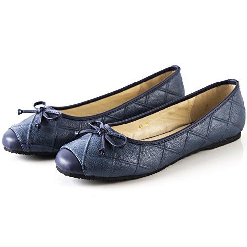 Aisun Mujeres Comfort Cap Toe Suave De Corte Bajo De Conducción Go Easy Slip On Pisos De Ballet Zapatos Con Moños Azul