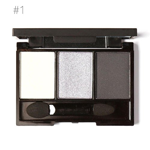 3 Colors Cosmetic Powder Smoky Eyeshadow Palette Makeup Set Matt Available Portable with Mirror (A)