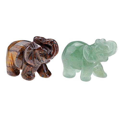 PESOENTH 2pc 1.5 Inch Carved Natural Tiger Eye/Green Aventurine Gemstone Elephant Feng Shui Statues Healing Crystal Mini Pocket Guardian Stone Wealth Lucky Figurine Sculpture