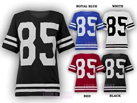 Image Unavailable. Image not available for. Colour  NEW WOMENS AMERICAN  JERSEY FOOTBALL TOP 85 PRINT VARSITY ... 24519be7d