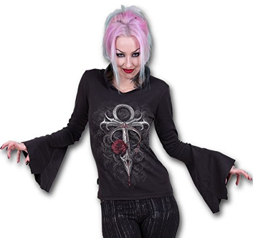 Spiral Womens - Vampire's Kiss - High Neck Goth Top Black - XL