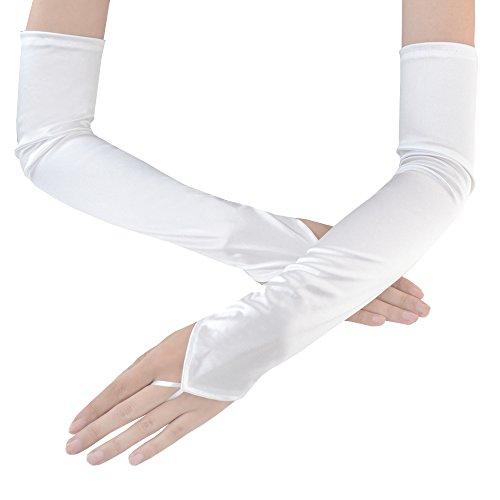 - JISEN Women's Fingerless Long Over the Elbow Shinny Satin Bridal Opera Gloves 18 inch White
