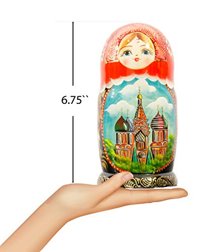 Russian Nesting Doll - Hand Painted in Russia - Moscow Memories- Traditional Matryoshka Babushka (Style B) by craftsfromrussia (Image #2)