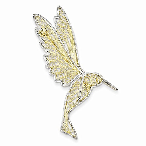 14k Yellow Gold & Rhodium Diamond Cut Filigree Hummingbird Pin by Nina's Jewelry Box