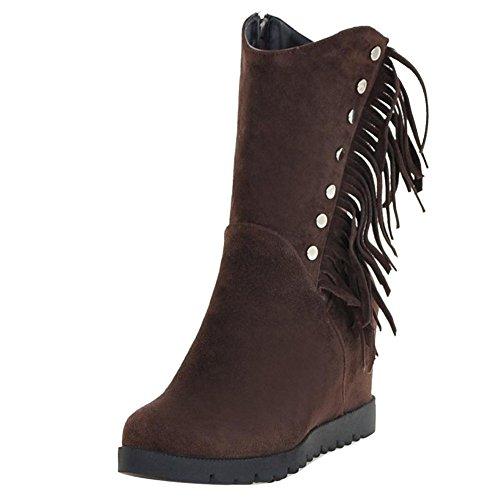 Dark Wedge Zipper COOLCEPT Women Brown Boots wO70SWcvqI