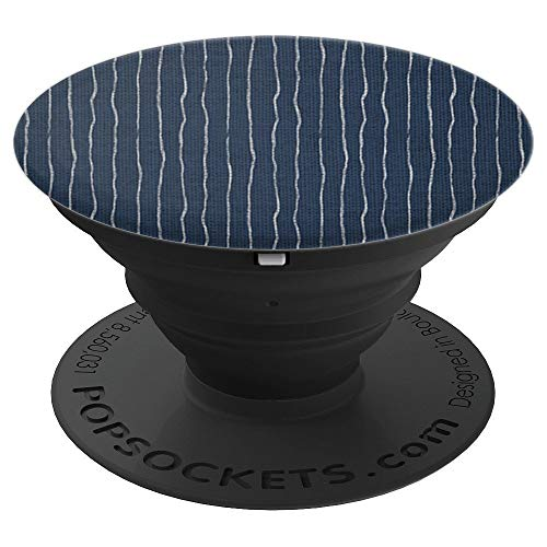 Hand-drawn Pinstripe Pattern - Navy Blue - PopSockets Grip and Stand for Phones and Tablets ()