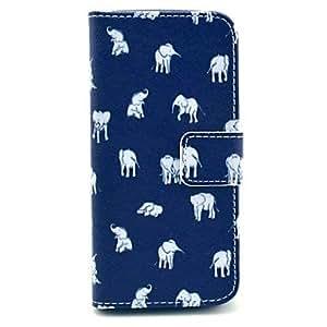 GDW diversos patrón elefantes pu cuero caso de cuerpo completo para iphone 5 / 5s