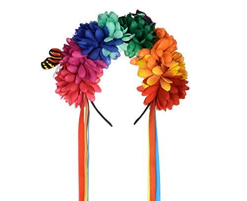 DreamLily Frida Kahlo Mexican Flower Crown Headband Halloween Party Costume Dia de Los Muertos Headpiece NC25 (B-Colorful Ribbon) -