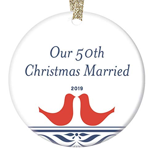 50th Golden Wedding Anniversary Ornament 2019 Christmas Keepsake Parents Mom Dad Grandparents Party Celebration Present 50 Fifty Years Married Together Happy Couple 3
