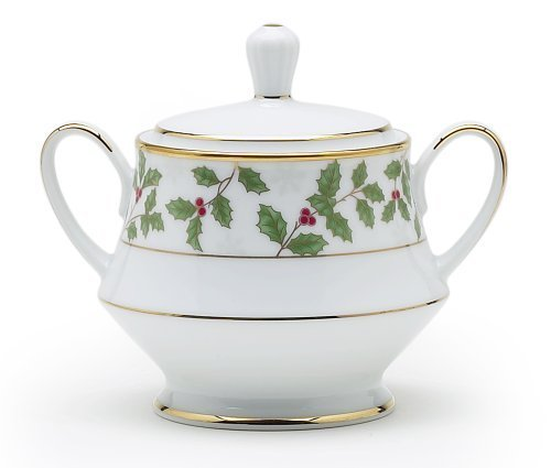 (Noritake Holly & Berry Gold Sugar Bowl with Cover by)