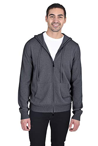 State Cashmere Men's 100% Cashmere Zip Pullover Hoodie with Drawstring Charcoal