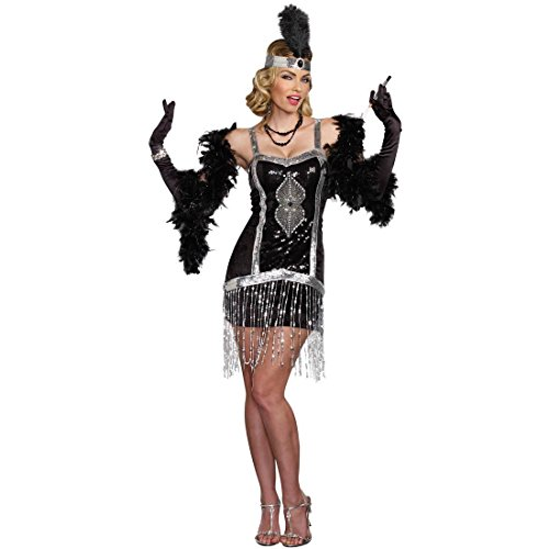 Dreamgirl Women's Simply Fab 1920's Flapper Costume, Black, (Black Flapper Dress Halloween Costumes)