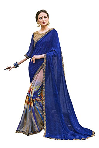 Sarees Party Facioun Wedding Designer Wear Blue For Da Indian Multi Women Sari Traditional O6HxHEw