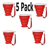 5 Pack Collapsible Travel Cup with Lid Reusable Red Cup Camping Cup