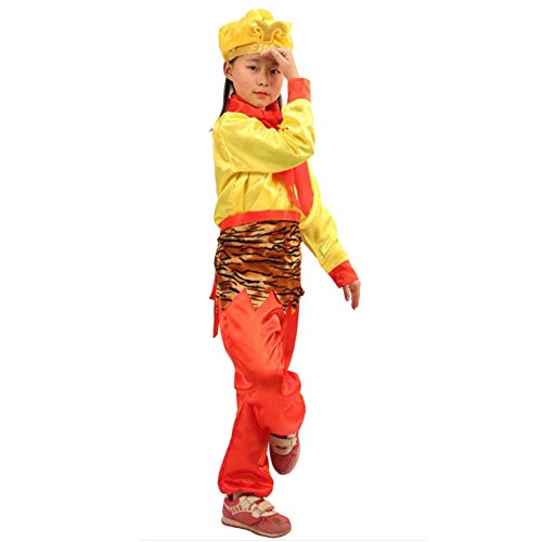 [Itopfox Girls Monkey King Costume School Play Party Outfit Golden Cudgel 160] (Trick Or Treat Costumes Images)
