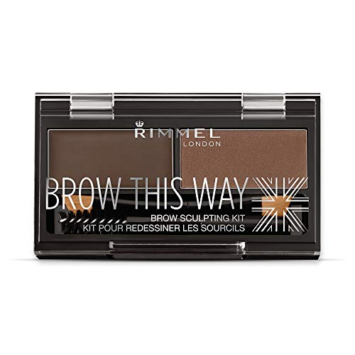 Rimmel Brow This Way Sculpting Kit, Dark Brown, Powder 0.04 oz., Wax 0.03 oz., Brow Sculpting & Styling Kit with Eyebrow Wax & Setting Powder