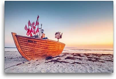 CALVENDO Lienzo prémium de 45 cm x 30 cm, Horizontal, último Barco pesquero BIN-11 en la Playa de Binz, Imagen sobre Bastidor, Imagen premontada sobre Volantes auténticos, Color Natural