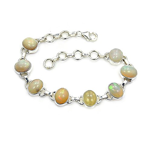 Sterling Silver Rare Natural Ethiopian Opal Bracelet, Adjustable 6.75''-7.75'' by The Silver Plaza