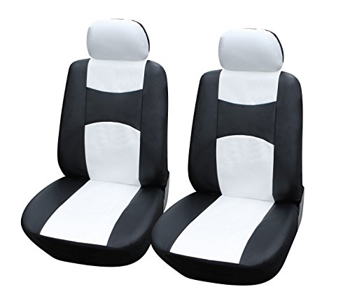 115904 Bk/White-Leather Like 2 Front Car Seat Covers Compatible to Dodge Charger Challenger Dart Journey Durango 2017-2007