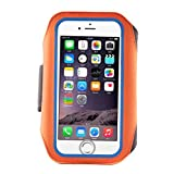 IPhone6 6s 4.7 Inch 6PLUS 5.5 Armband Sports Running Bag Jogging Cycling Biking Hiking Exercise with Double Buckle Card Pocket Earphone Holes Perfect for Men Women Outdoor Activity Orange 4.7 VJ33