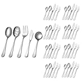 Silverware Set,SHARECOOK 45-Piece Stainless Steel Flatware Set with Serving Set,Kitchen Utensil Set Service for 8,Tableware Cutlery Set for Home and Restaurant, Dishwasher Safe