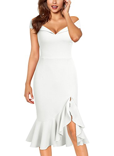 White Strapless Cocktail - Knitee Women's Off Shoulder Elegant Slim Style Evening Party Dress,X-Large,White